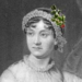 An image of Jane Austen photoshopped to wear holly on her hat