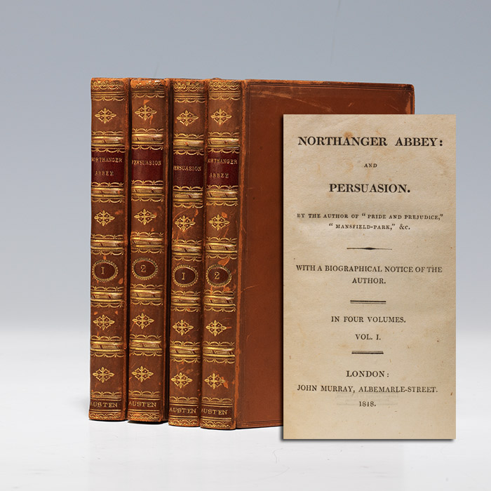 A title page of Northanger Abbey and Persuasion with leather bound volumes of Austen's novels